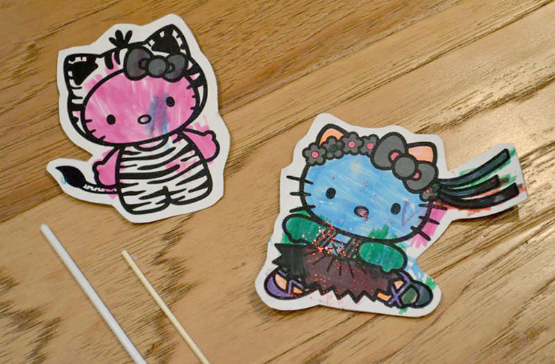 DIY Paper Hello Kitty Character Puppets - Mommy Scene