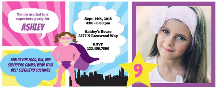 Purple Trail Custom Kids Superhero Party Invitations - Mommy Scene