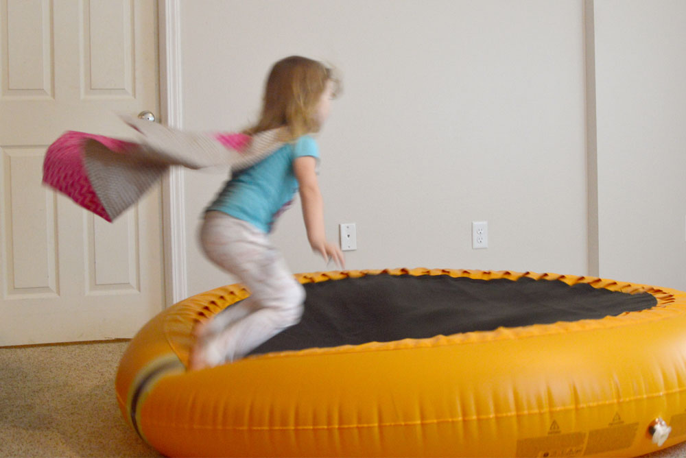 Inflatable trampoline from The Shrunks - Mommy Scene review