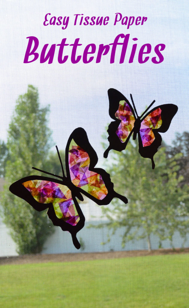 Beautiful tissue paper butterfly suncatchers - Mommy Scene