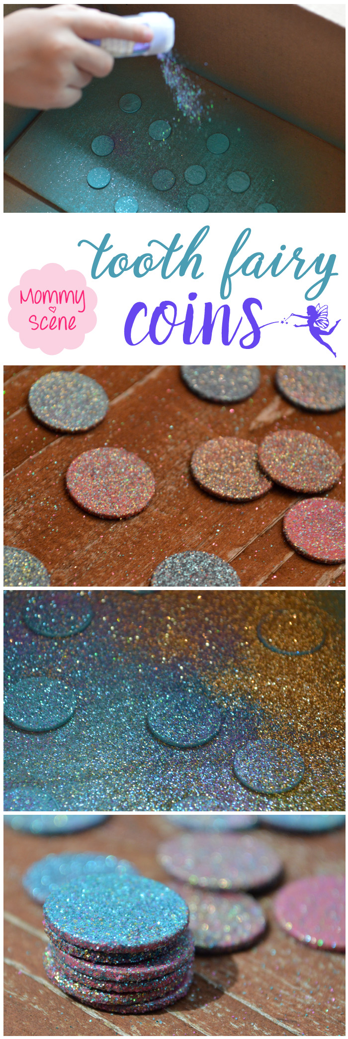 Celebrate your child losing their first tooth with glittery DIY tooth fairy coins - Mommy Scene