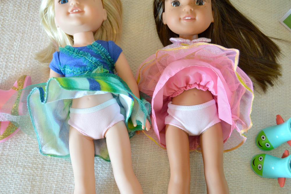 American Girl Wellie Wishers dolls have cute outfits complete with white underwear - Mommy Scene review