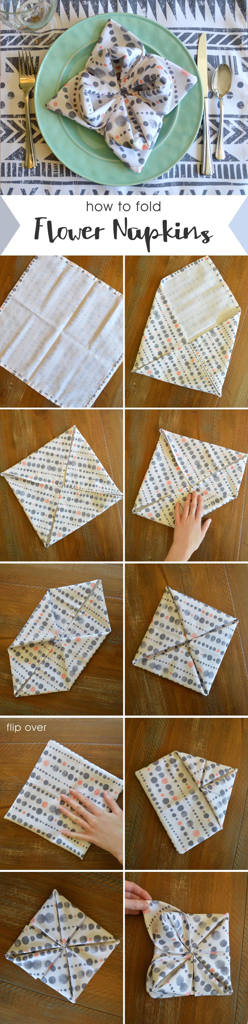 Easy folded cloth napkin flowers - Mommy Scene