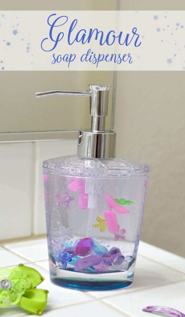 Easy interactive soap dispenser filled with barbie shoes, jewels, and flowers - Mommy Scene