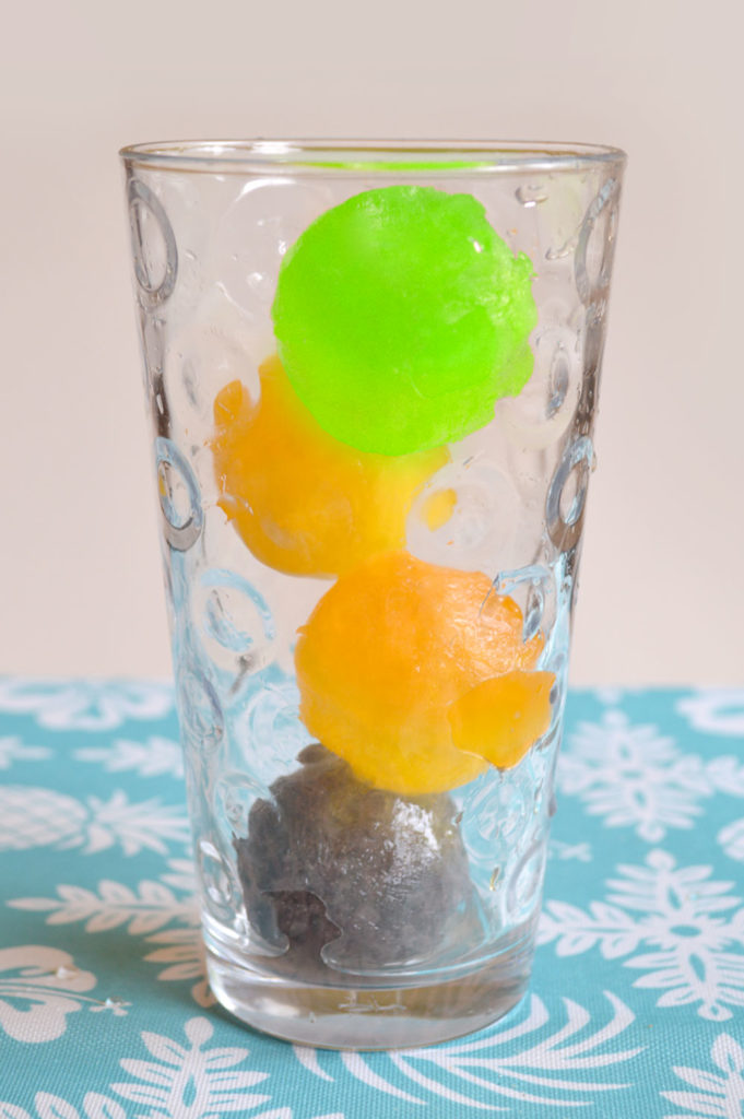 Colorful ice balls with otter pops - creative kids party treats