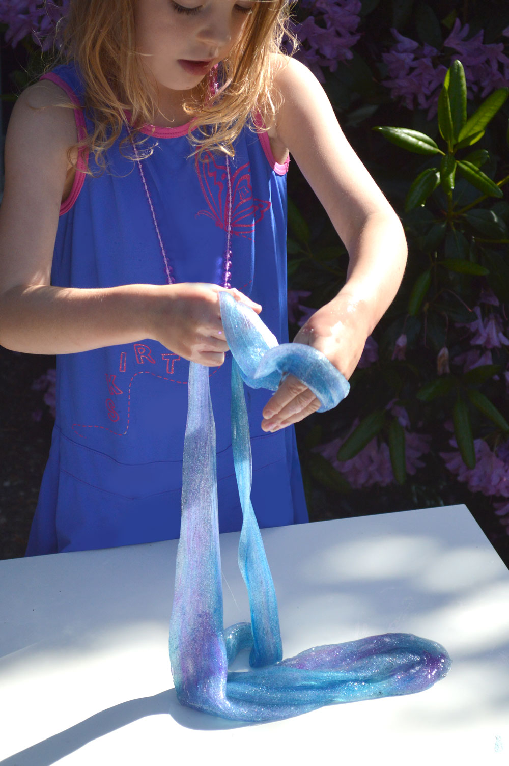 Fun DIY sensory glitter slime for kids - no borax!