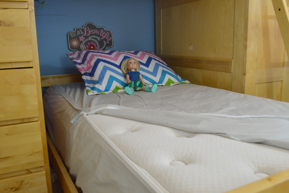 Kids mermaid blanket, bunk beds, and Quick-Zip sheets - Mommy Scene