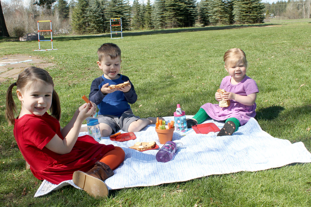 Primary Kids Clothing picnic in the back yard - Mommy Scene