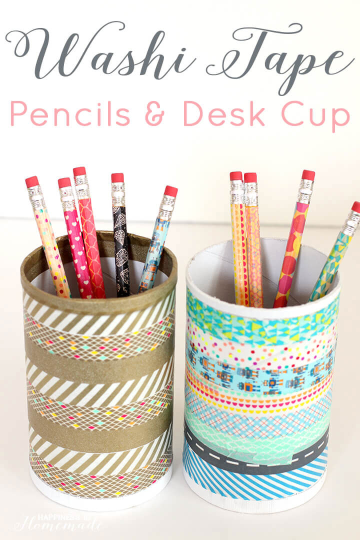 Washi Tape Pencil Cup - Mommy Scene