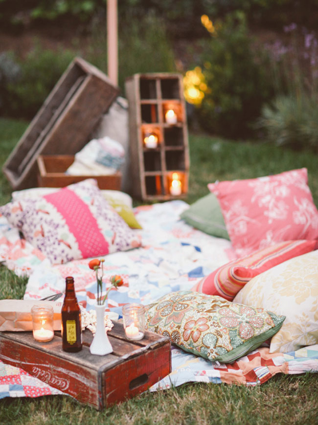 Backyard Movie Night seating and pillows - Mommy Scene