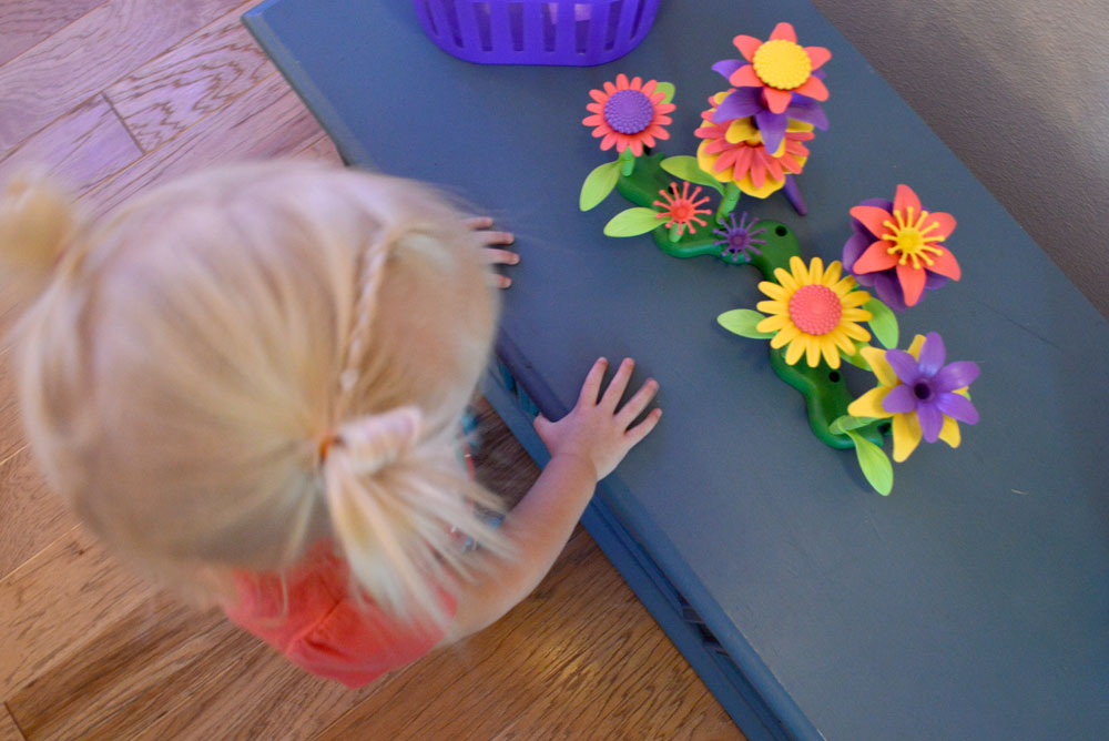 Kids' Fairy Birthday Party activity with Green Toys flowers - Mommy Scene