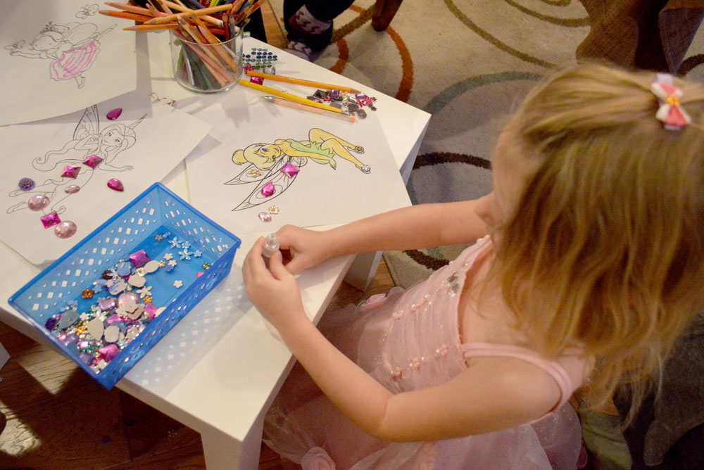 Kids' Fairy Birthday Party fairy coloring pages and rhinestone craft - Mommy Scene