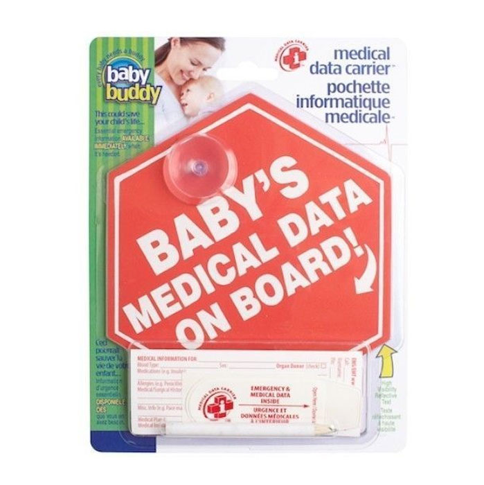Spring Baby Shower Faves - Baby's Medical Data on Board Sign