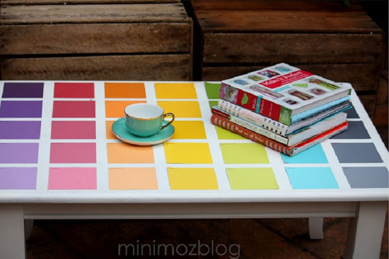 Paint Chip inspired table decoration