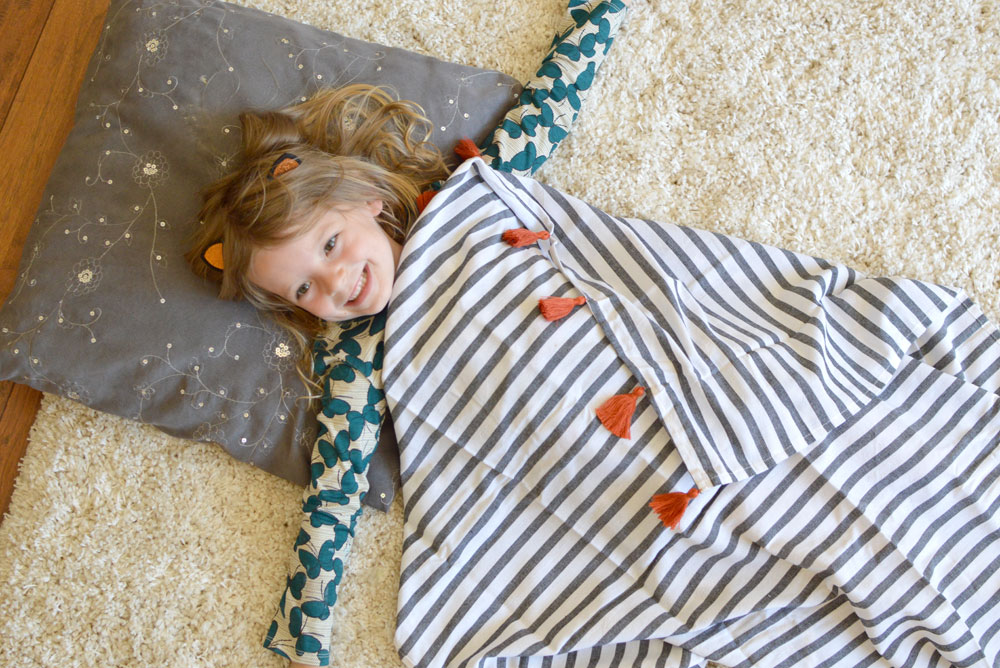 Simple Kids routine after nap quiet time - Coco & Kiwi tassel throw