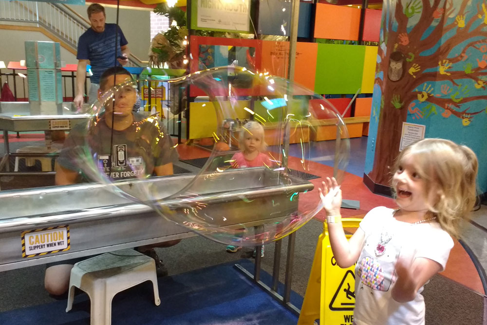 Mobius Spokane Children's Museum bubbleology huge bubble maker for kids - Mommy Scene