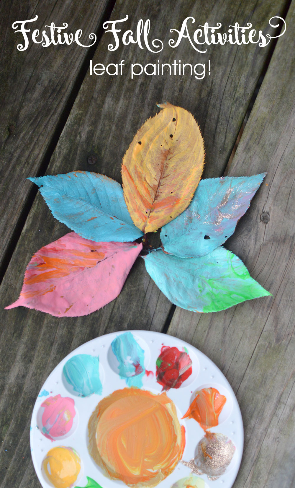Colorful painted leaves kids activity for fall - Mommy Scene