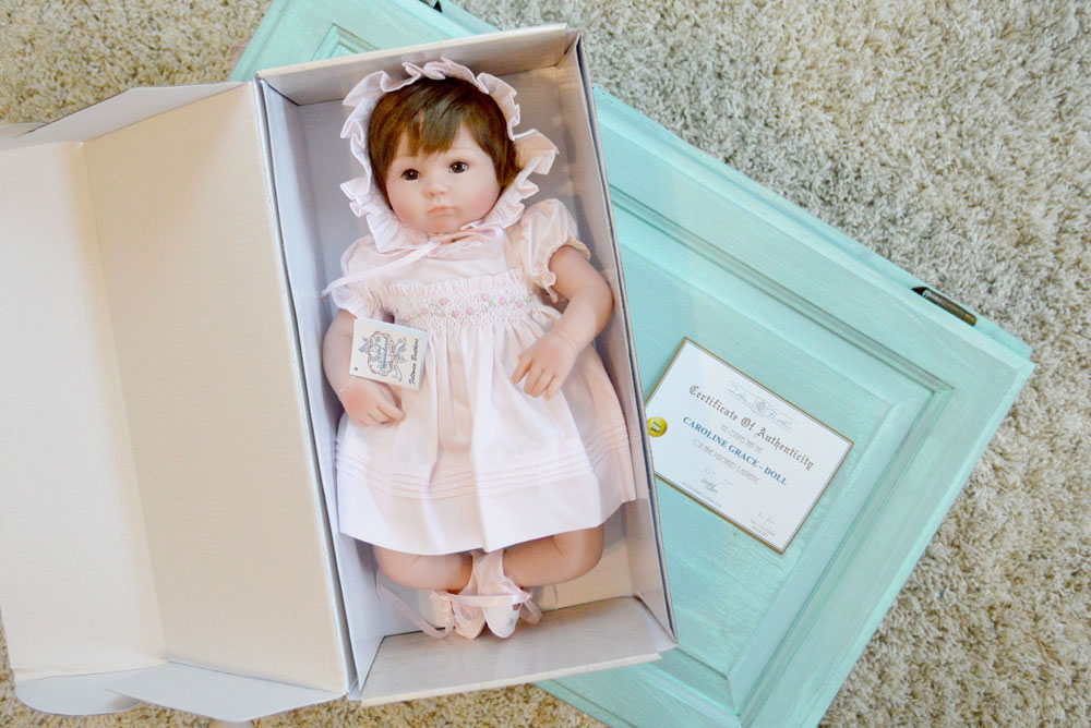 Caroline Grace Feltman Brothers Baby Doll in collectible box - Mommy Scene