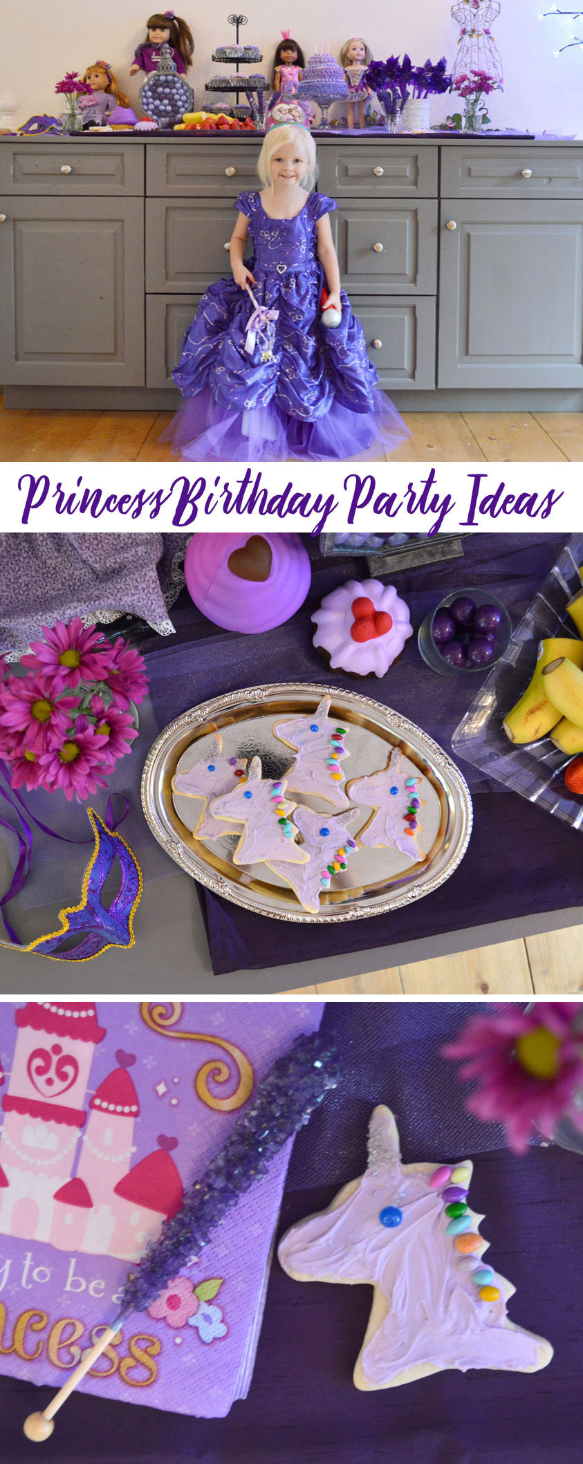 Princess Birthday Party ideas purple unicorn cookies - Mommy Scene