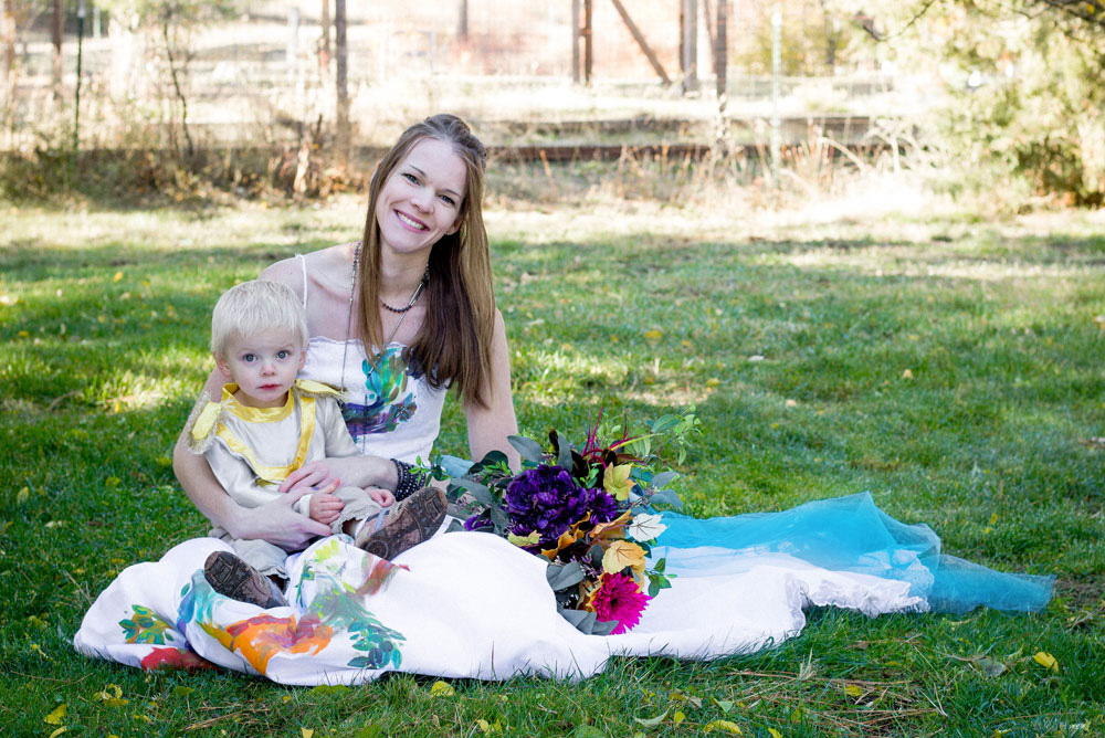 Colorful fall wedding photos and cute baby boy