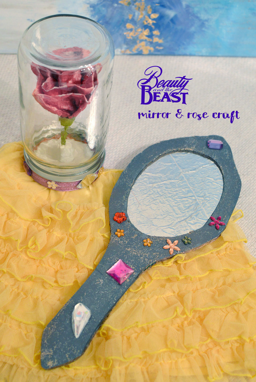 Beauty and the Beast magic mirror and enchanted rose craft - Mommy Scene