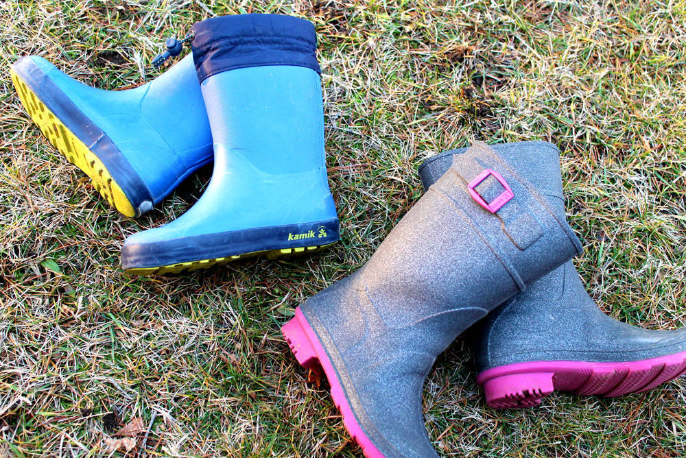Kamik Kids Glitzy and Drizzly Waterproof Rain Boots