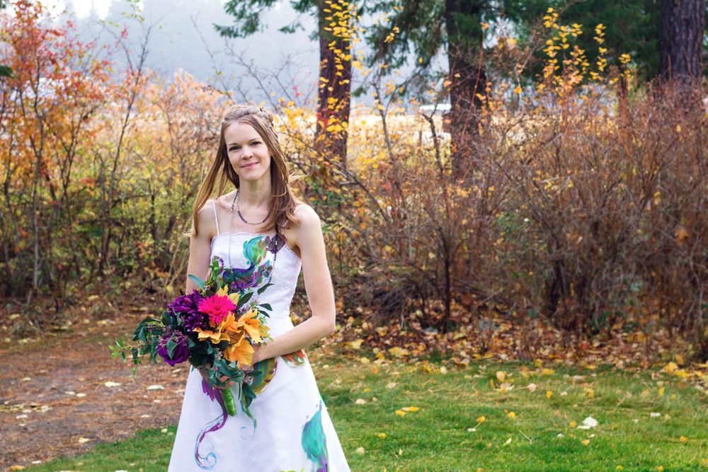 Fall themed colorful trash the dress wedding photos