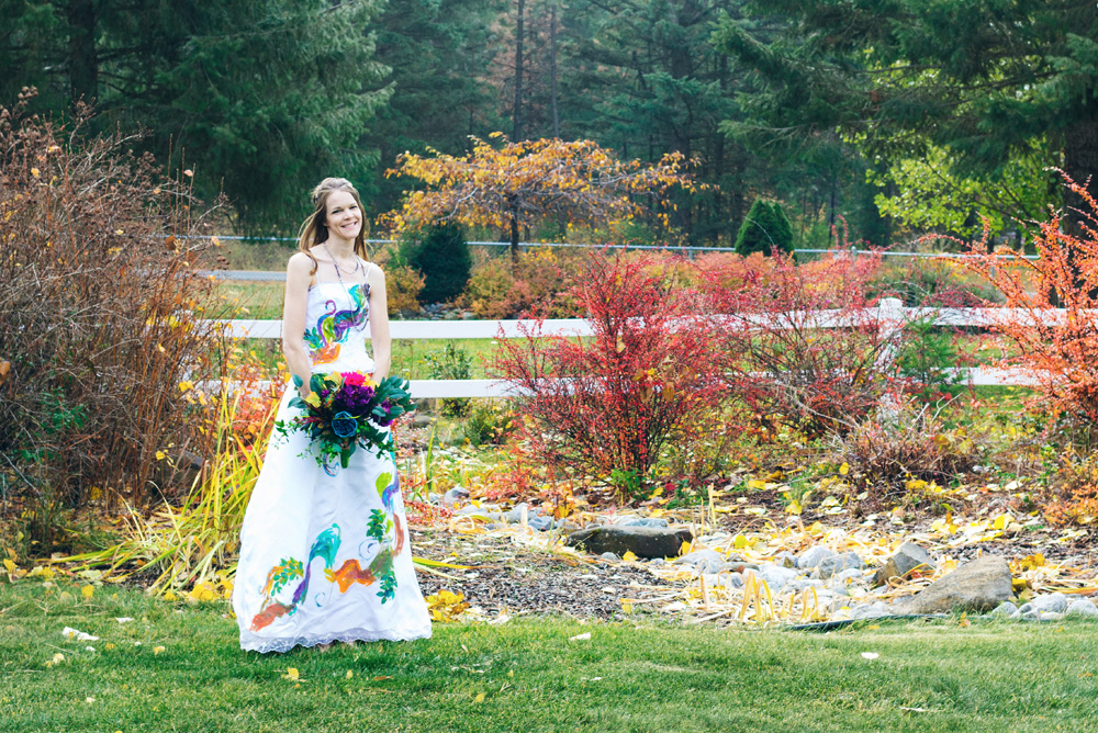 Colorful fall Trash the Dress photos with paint
