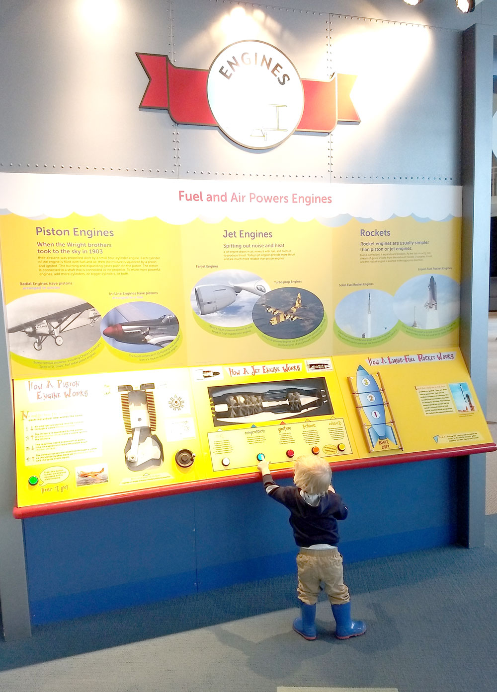 Seattle Museum of Flight kids Flight Zone engine exhibit - Pacific Northwest family trip
