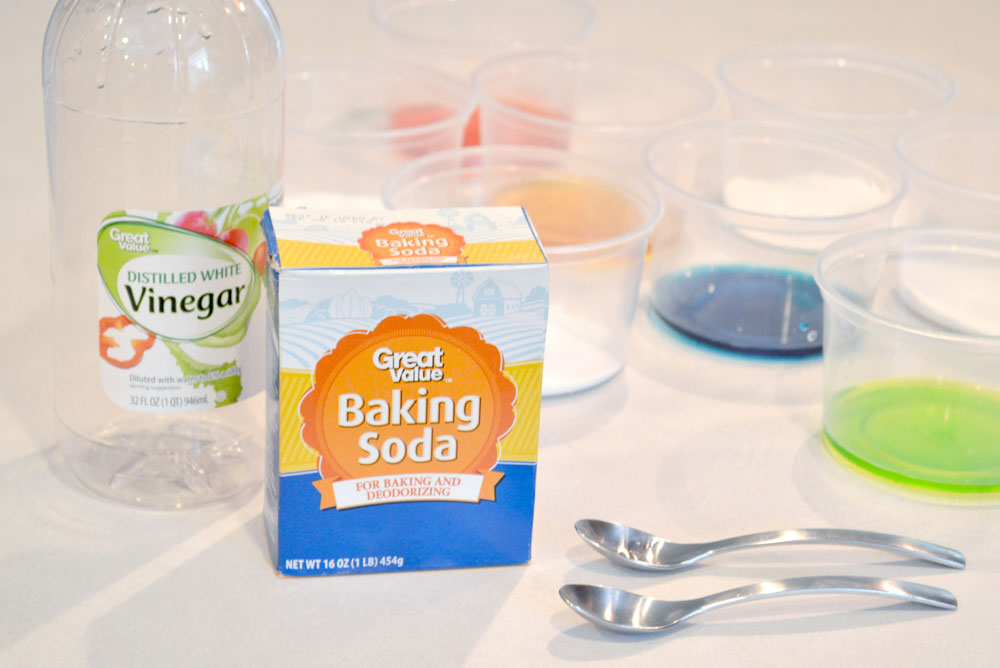 Baking soda and colored vinegar science activity for kids