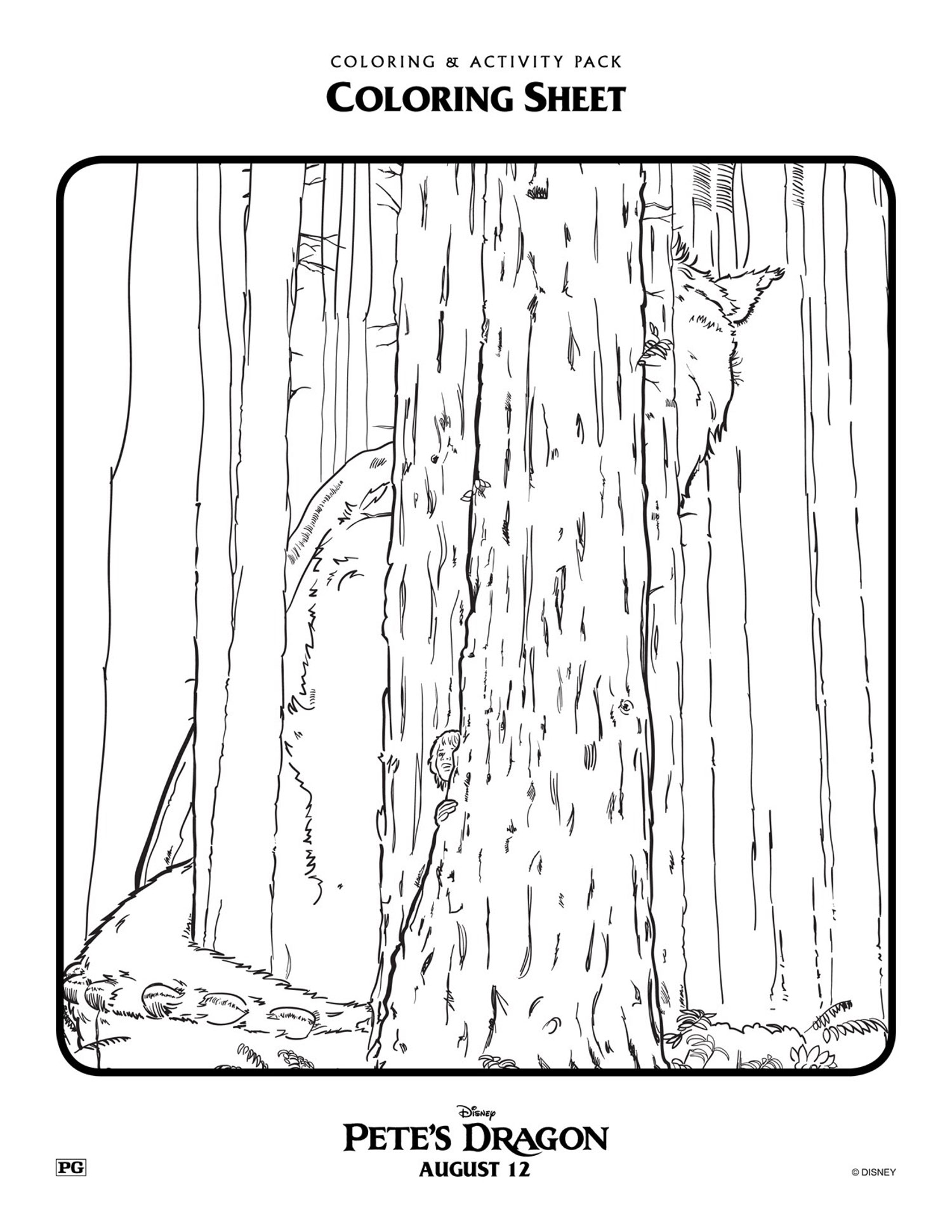 Pete's Dragon Disney coloring page for kids - Mommy Scene