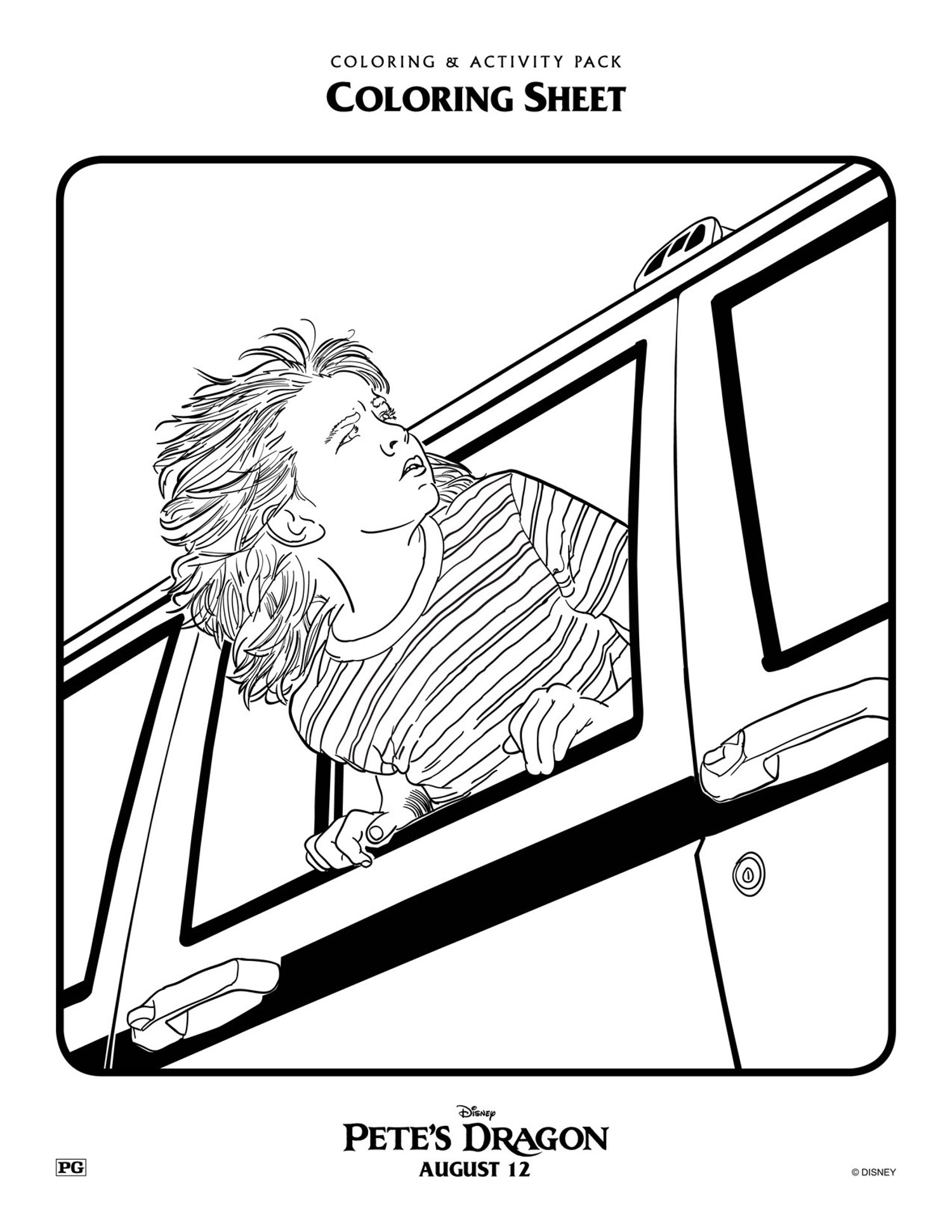 Pete's Dragon movie coloring page for kids - Mommy Scene