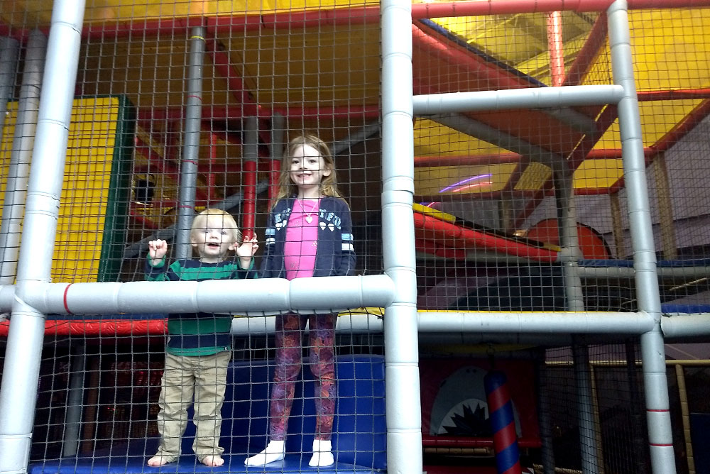 Tukwila Family Fun Center climbing play structure - Mommy Scene