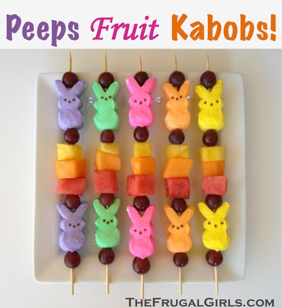 Easter treats Peeps fruit kabobs