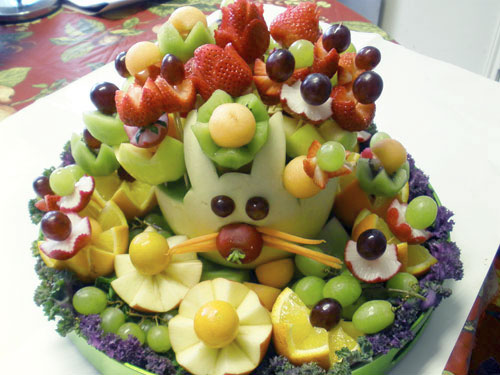 Easter treats bunny fruit basket