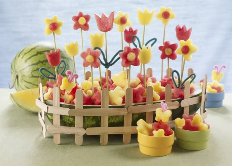 Easter treats fruit shapes flower garden