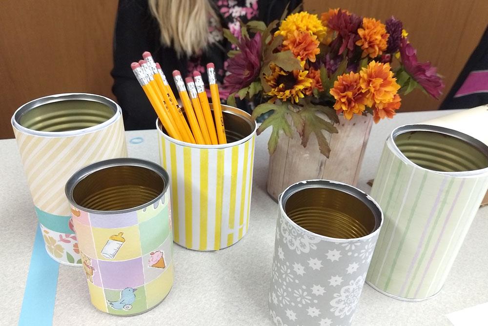 Hayden Library kids craft fair pencil cans