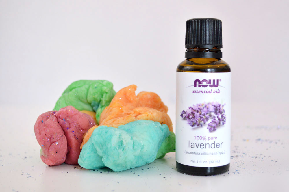 Rainbow playdough with essential oils