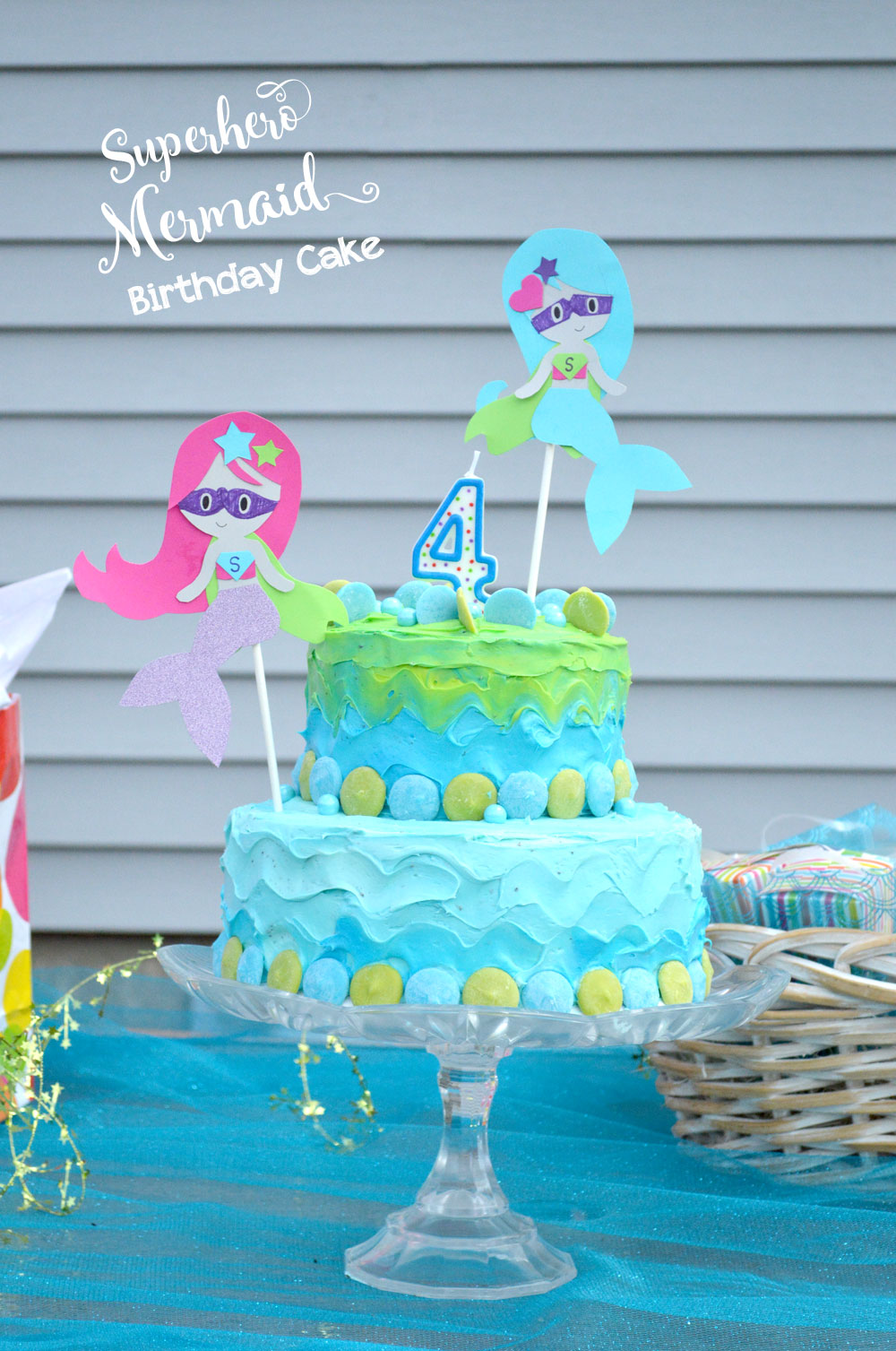 Tiered birthday cake for kids mermaid party