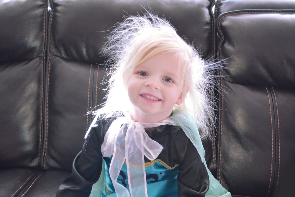 Little Girl with static electricity hair