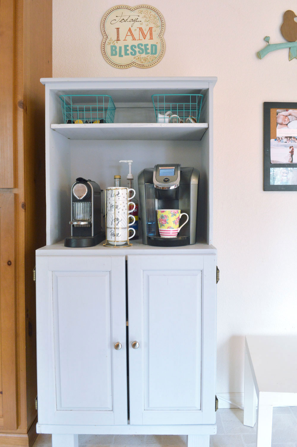 Repurposed computer desk coffee station for kitchen