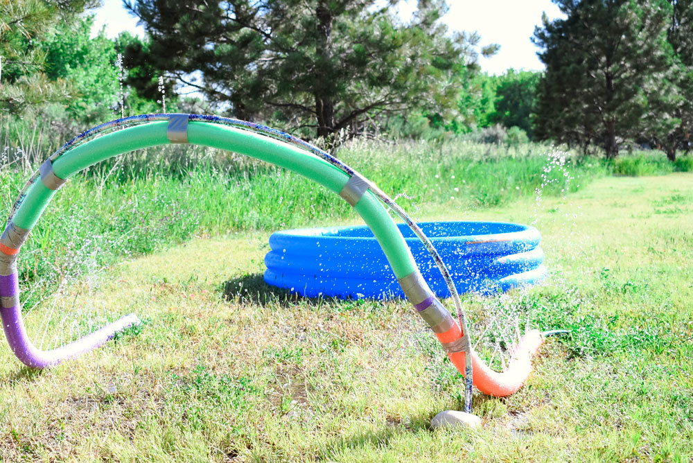 Easy DIY Pool Noodle Sprinkler for backyard summer fun