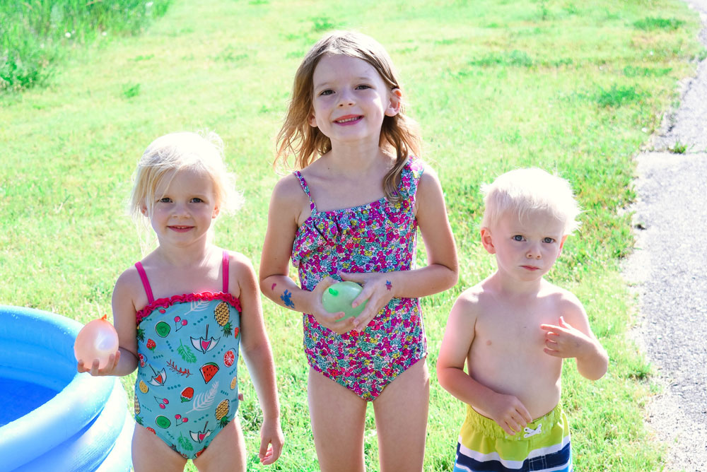 Summer fun with water balloons