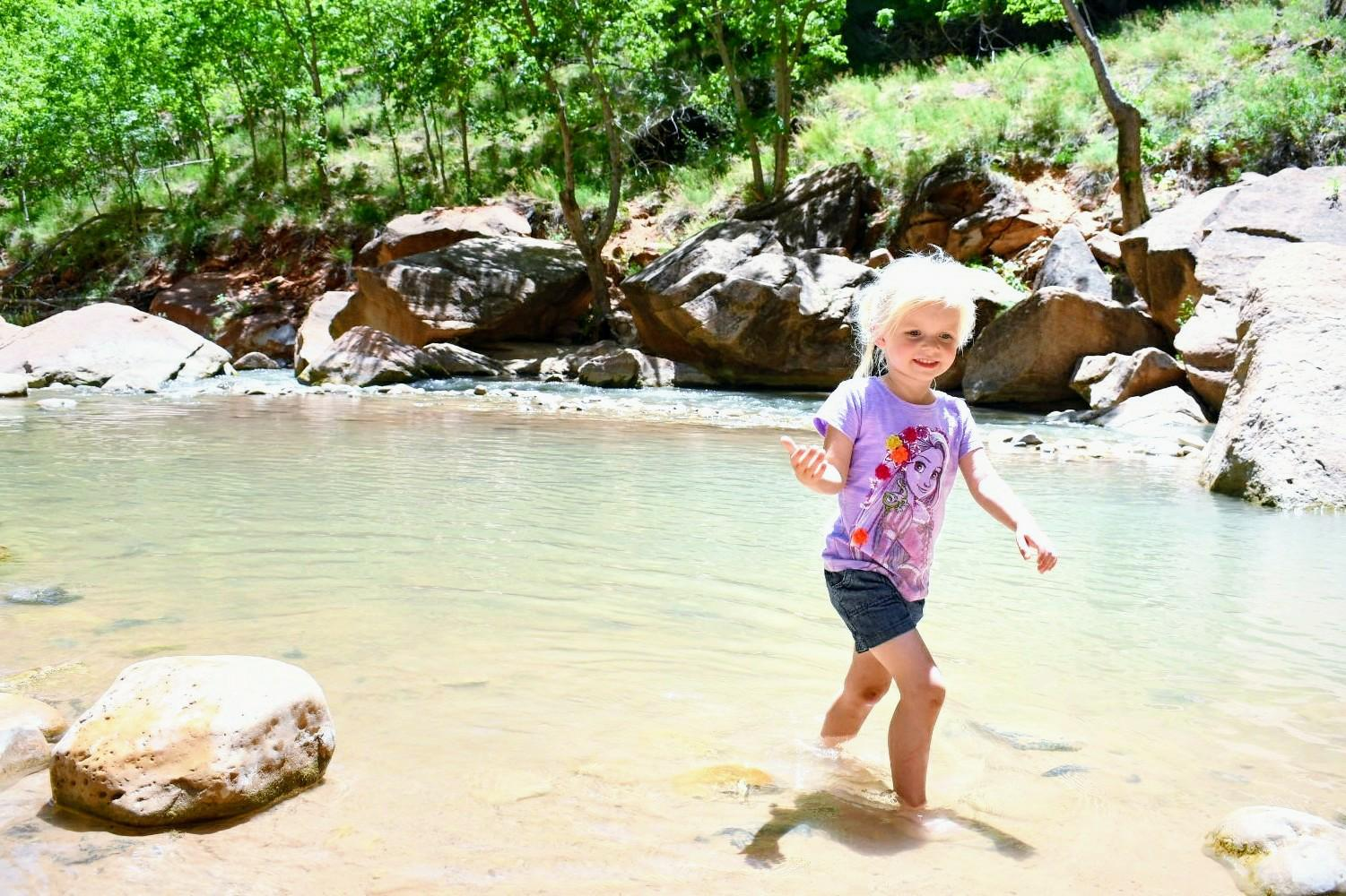 Walking in the water on our Zion Canyon family hike