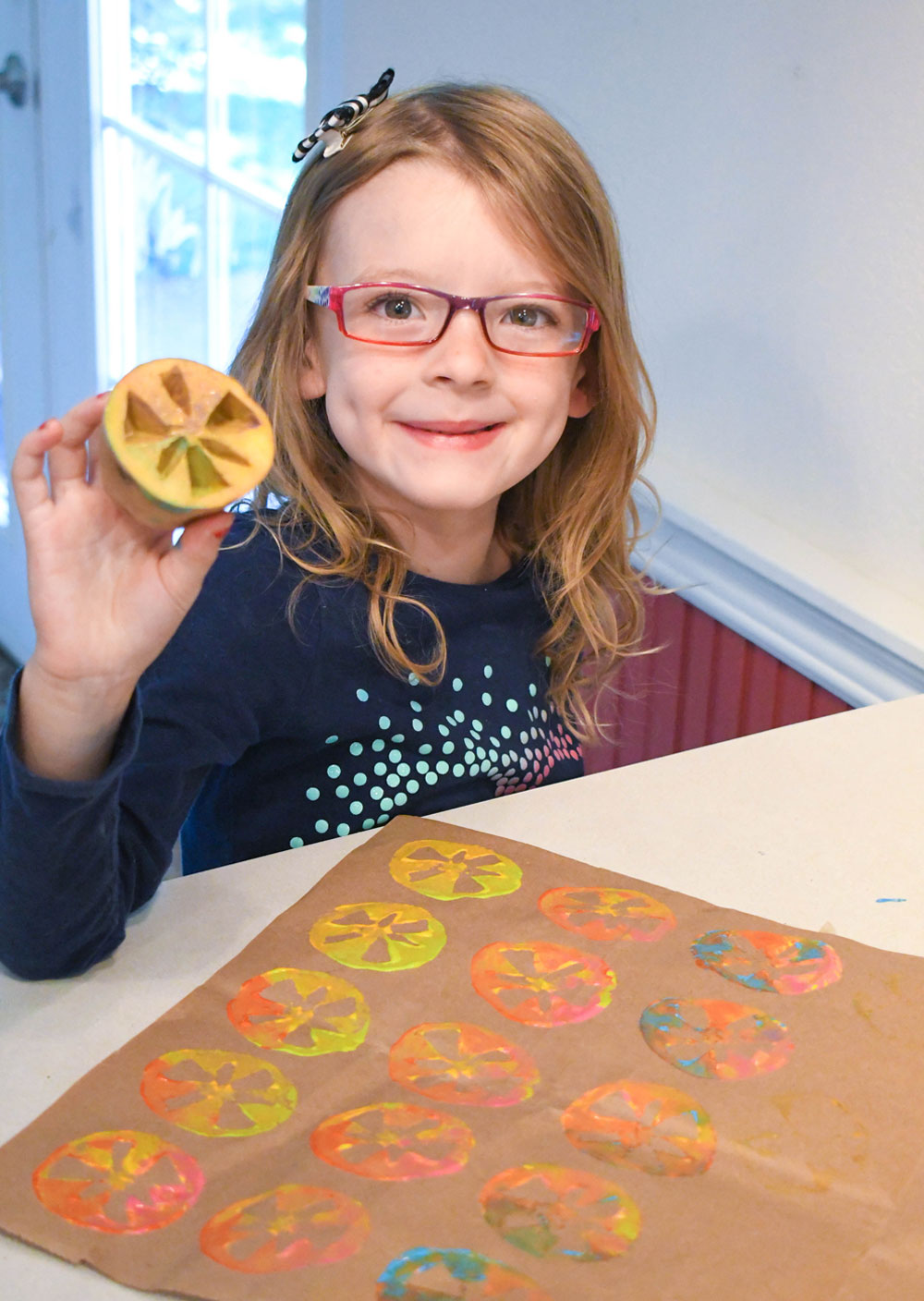 Make your own designs with colorful potato stamps!