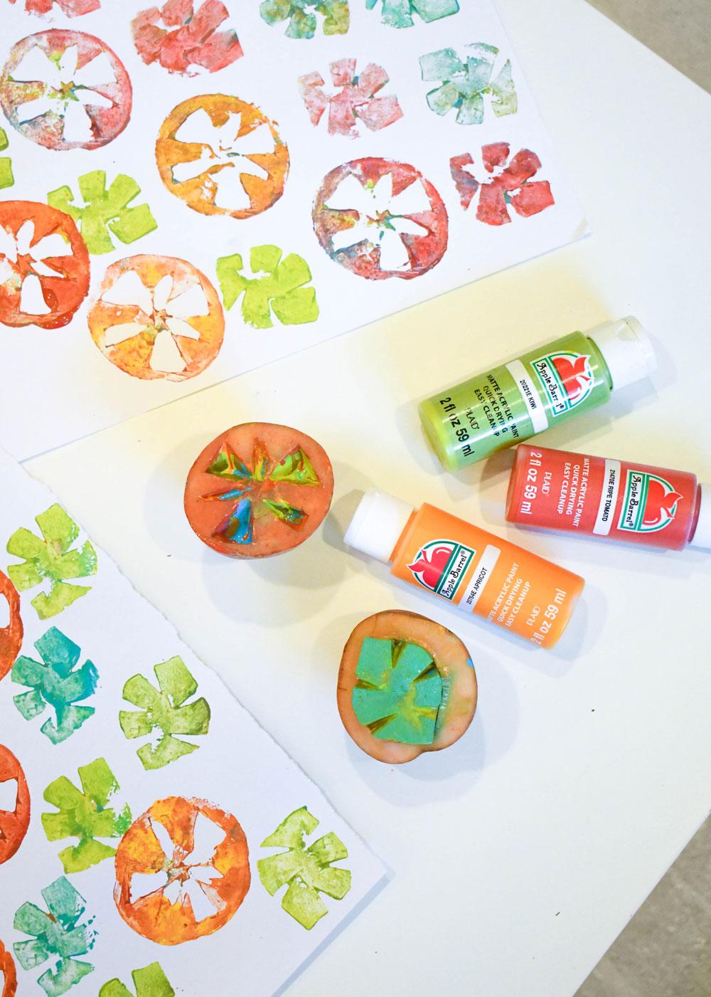 Make custom art with DIY potato stamps