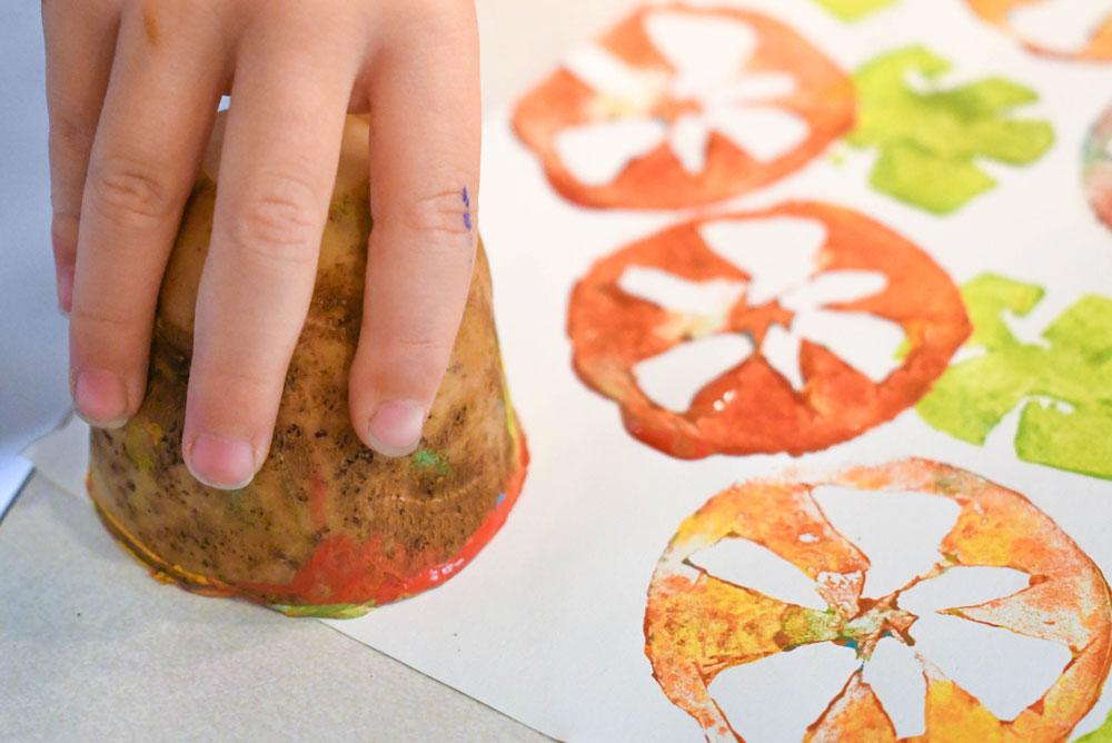 Creative DIY potato stamp kids project
