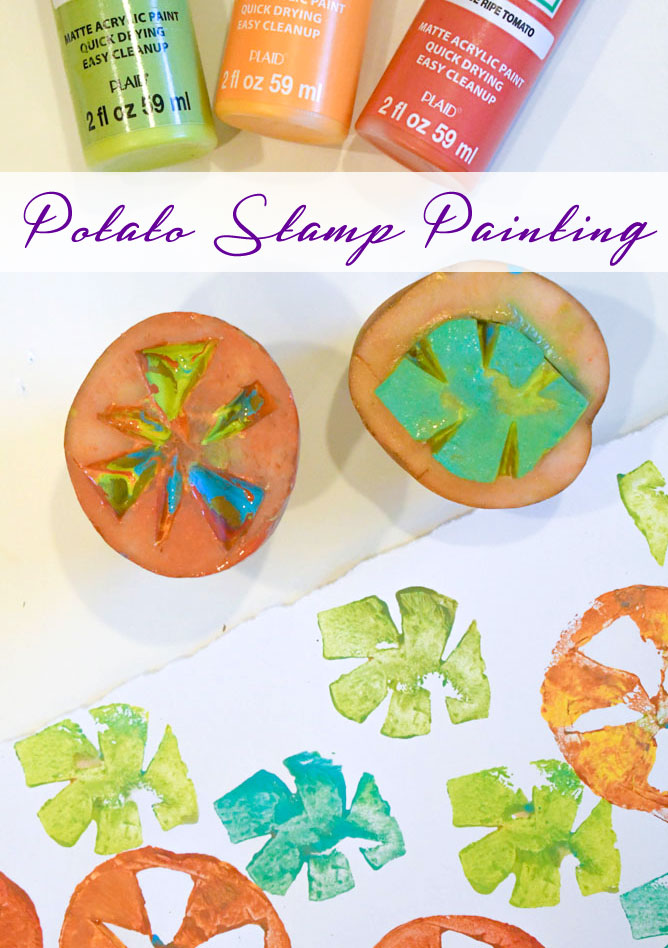 Colorful Potato Stamp Painting creative kids activity
