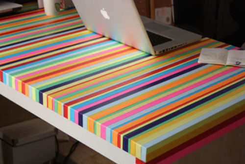 Make a rainbow tape table with washi tape - Mommy Scene
