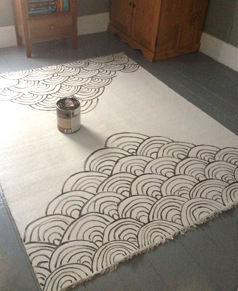 DIY Canvas Rug painted whimsical patterns